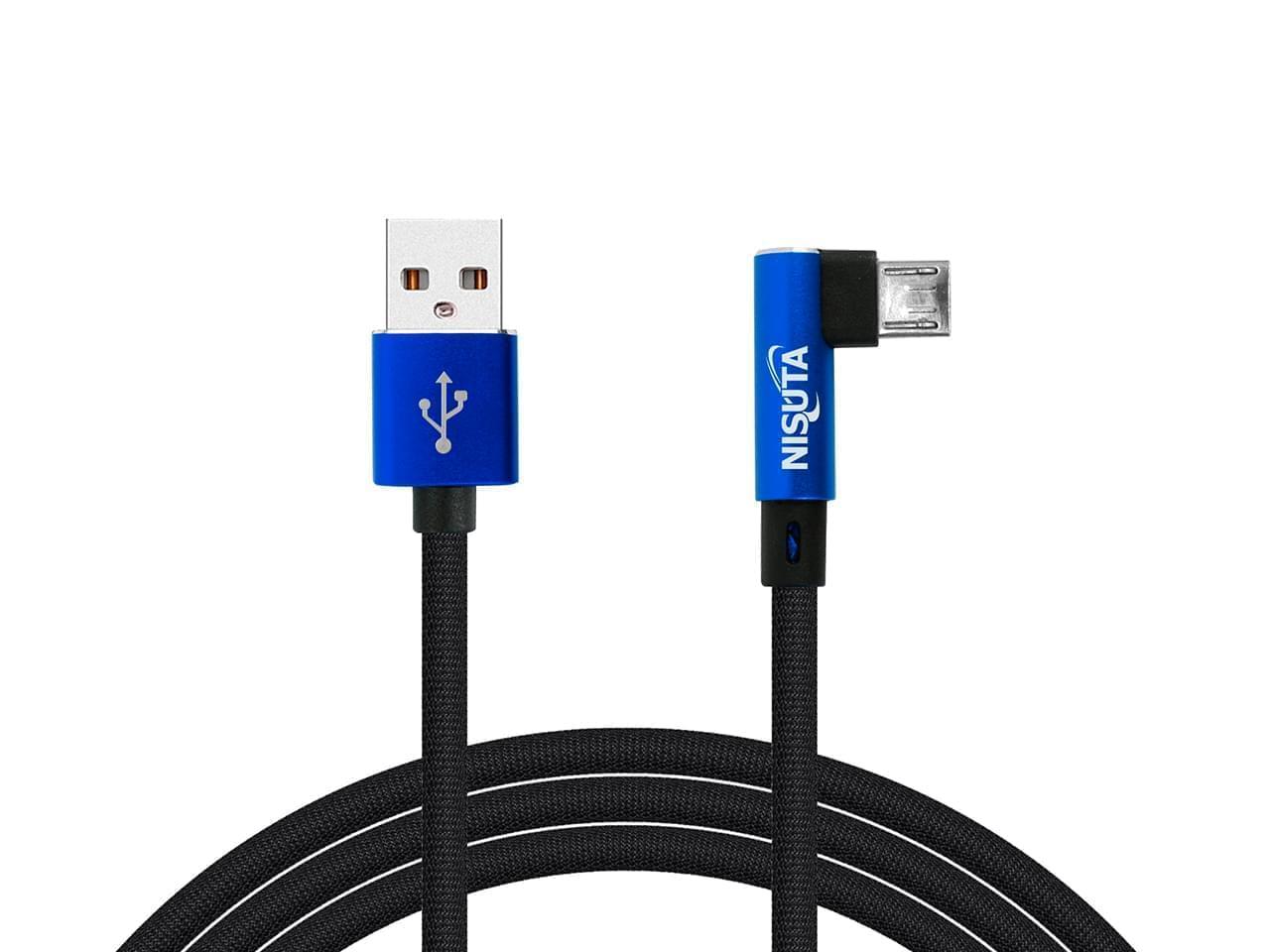 Cable micro USB de 1m de 2.4A con conector a 90° y malla de tela